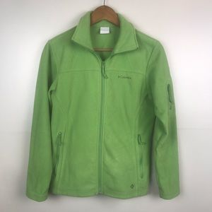 COLUMBIA Full Zip Green Fleece Jacket 3 Pocket